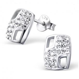 """Stříbrné náušnice s krystaly """"Královna krásy"""". Ag 925/1000"""